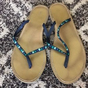 Old navy blue stone sandals
